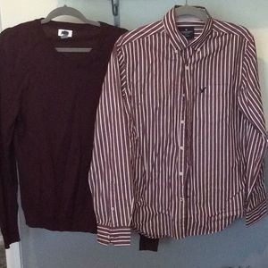 MensS AE shirt & matching M V-neck from old navy